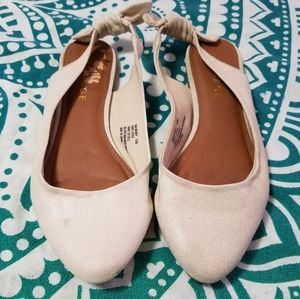 Darling Rampage cream gold sling back flats, 10